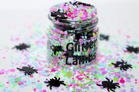 Little Miss Muffet Glitter by GlitterLambs.com | Black Spiders and Colorful Dots