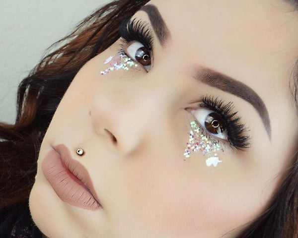 "@sierracone wearing Glitter Lambs ""Magical Little Unicorns"" chunky body glitter. Unicorn Eye Makeup Look"
