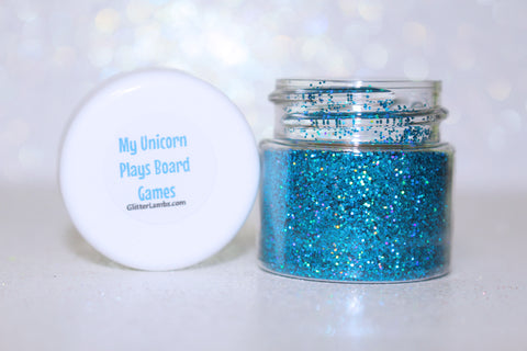 My Unicorn Plays Board Games Body Glitter Holographic Blue Body Glitter By Glitter Lambs