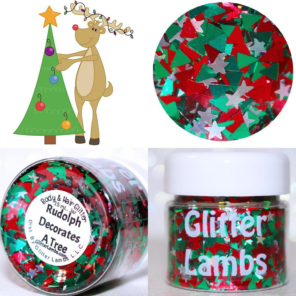 Rudolph Decorates A Tree | Christmas Body Glitter by GlitterLambs.com #christmasglitter #glitter #bodyglitter #rudolph #christmas
