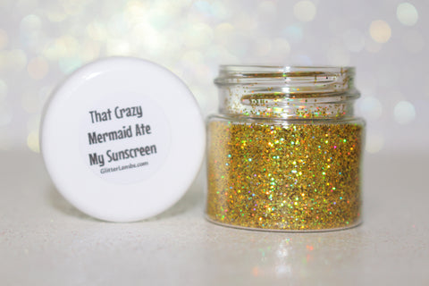 That Crazy Mermaid Ate My Sunscreen Body Glitter Gold Holographic Body Glitter Glitter Lambs