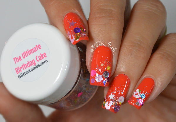 Glitter Lambs The Ultimate Birthday Cake Nail Art Glitter www.GlitterLambs.com @@rikkis_nails_