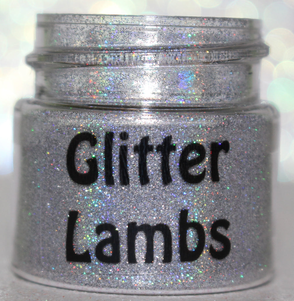 "Glitter Lambs ""U.F.O."" Body, Face, and Hair Glitter Pot Silver Holographic Glitter .004 GlitterLambs.com"