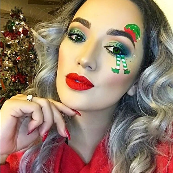 "@aileensgmakeup is wearing Glitter Lambs ""Cheshire Cat Party"" chunky body glitter in this elf Christmas makeup look."