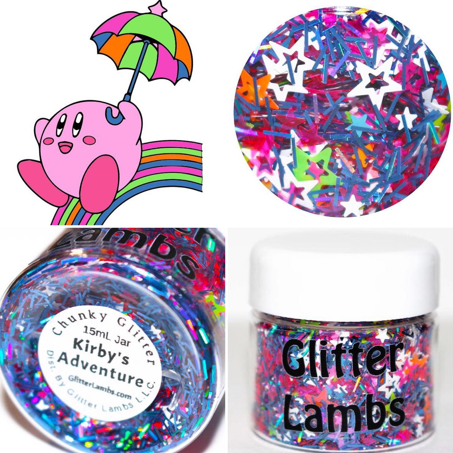 Kirby's Adventure Glitter by GlitterLambs.com