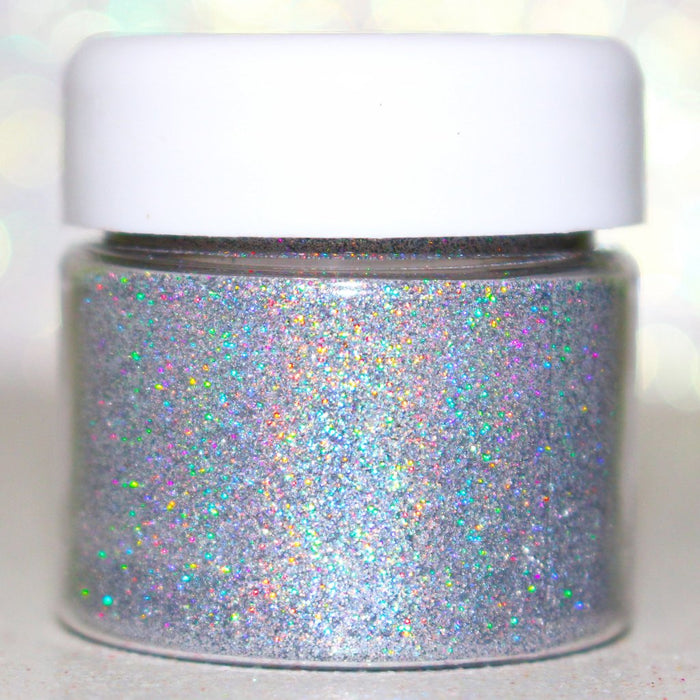 "Glitter Lambs ""100% Educated"" Loose Glitter Eyeshadow Silver Holographic Glitter Pot for Hair, Body, Face, Nails #glittereyeshadow #holographicglitter #holo #holographic #bodyglitter #hairglitter #glitterlambs"