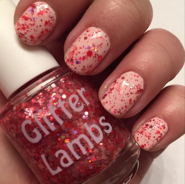 "Glitter Lambs ""Strawberry Preserves"" Glitter Topper Nail Polish #nails #glitternails #nailpolish #glitterlambs #nailart #naildesigns #glitternailpolish"