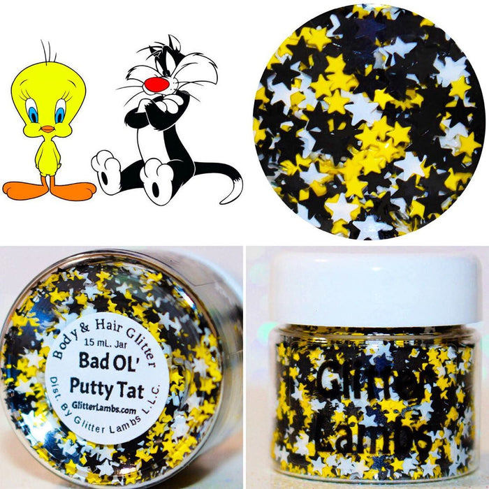 "Glitter Lambs ""Bad Ol' Putty Tat"" body glitter by GlitterLambs.com #glitter #bodyglitter #chunkyglitter #looseglitter #glitterlambs"
