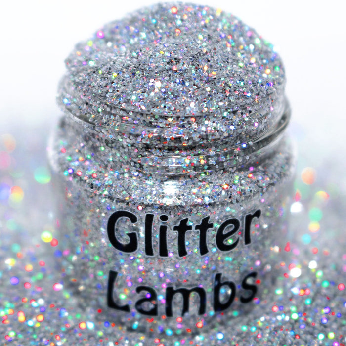 Billionaire Status Glitter by GlitterLambs.com | Silver Holographic Glitter .015 For Arts, Crafts, Nails, Resin