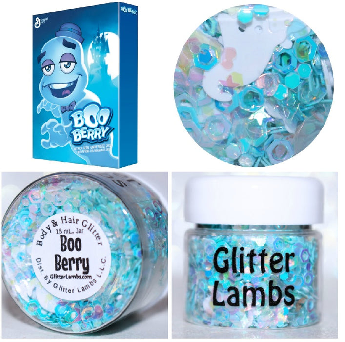 """Boo Berry"" Halloween Body Glitter by GlitterLambs.com - Ghost Glitter Blue and White Glitter Mix"