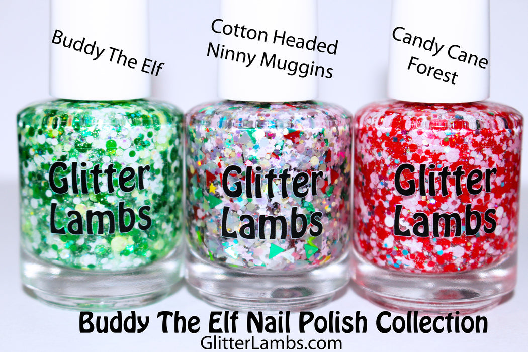 Buddy The Elf Glitter Nail Polish Collection | Glitter Lambs Christmas Glitter Topper Nail Polish - GlitterLambs.com