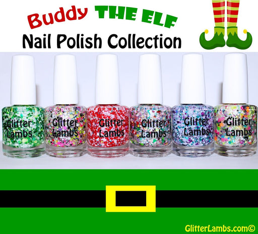 Buddy The Elf Glitter Nail Polish Collection | Glitter Lambs Christmas Glitter Topper Nail Polish