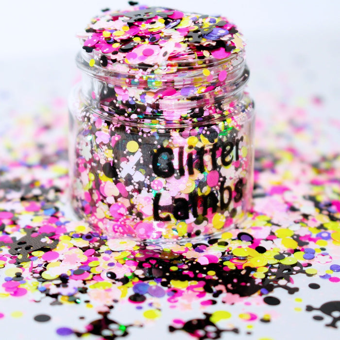 Candy Crusher Glitter for crafts diy resin by Glitter Lambs black holographic skull glitter by GlitterLambs.com