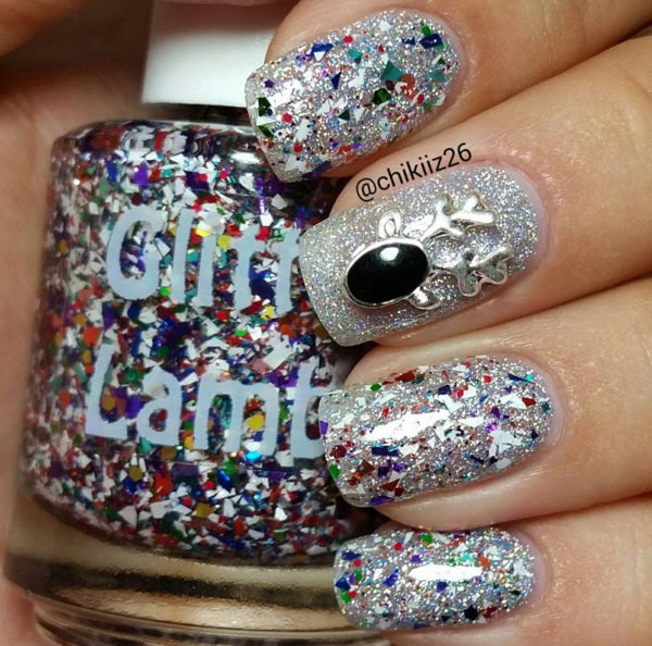 Rudolph's Snow Globe Glitter Lambs Glitter Topper Nail Polish by GlitterLambs.com #nails #nailpolish #christmasnails #christmasnailpolish #glitterlambs #glitterlambsnailpolish #nails