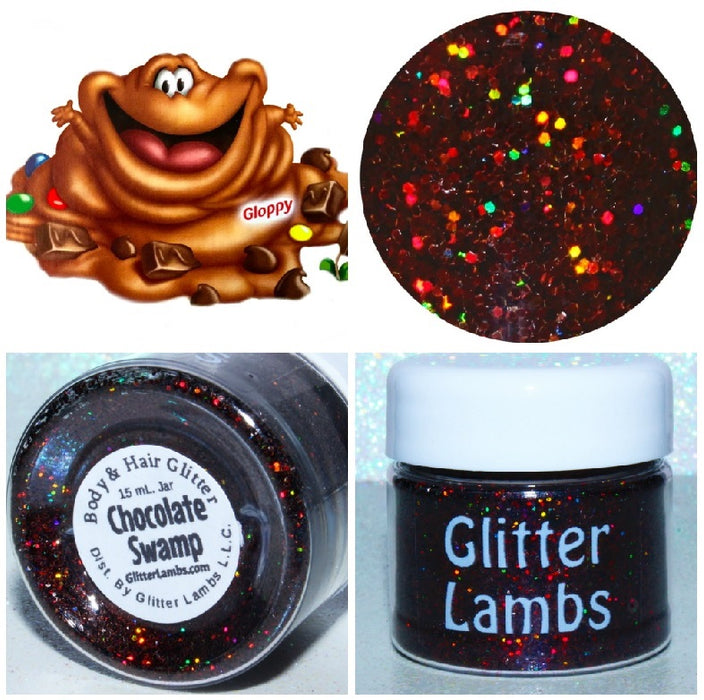 Chocolate Swamp (Gloppy) from the Candy Land Glitter Collection by Glitter Lambs | GlitterLambs.com Brown Holographic Glitter