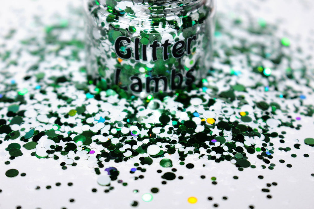 Christmas Elf glitter. Great for crafts, nails, resin, acrylic pouring, tumbler cups, body, hair, etc. by GlitterLambs.com A green and white loose chunky glitter mix.