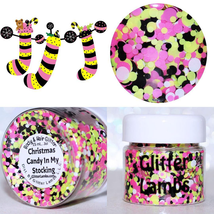 "Glitter Lambs ""Christmas Candy In My Stocking"" Body Glitter by GlitterLambs.com  #glitter #christmas #christmasglitter #glitterlambs"