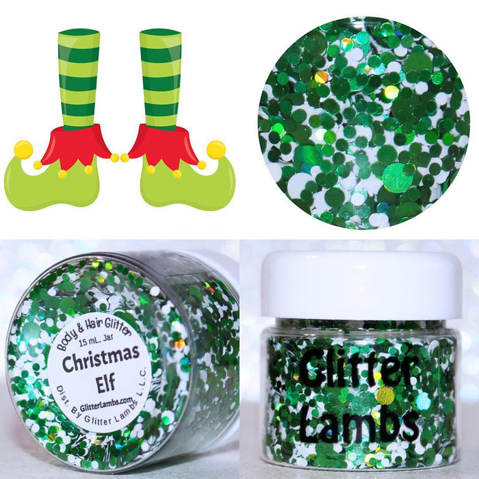 "Glitter Lambs 'Christmas Elf"" Body Glitter by GlitterLambs.com  #glitter #elf #christmasglitter #elfglitter #glitterlambs #christmas #greenglitter"