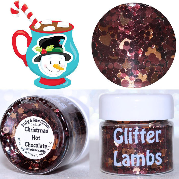 "Glitter Lambs 'Christmas Hot Chocolate"" Body Glitter by GlitterLambs.com  #glitter #christmasglitter #christmas #glitterlambs #hotchocolate #brownglitter #christmasglitter"