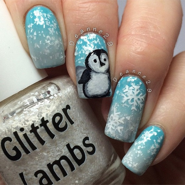"Glitter Lambs ""Snow Storm"" Glitter Nail Polish by GlitterLambs.com Christmas Nail Polish #nails #nailpolish #glitternailpolish #glitterlambs #christmasnailpolish #christmasnails"