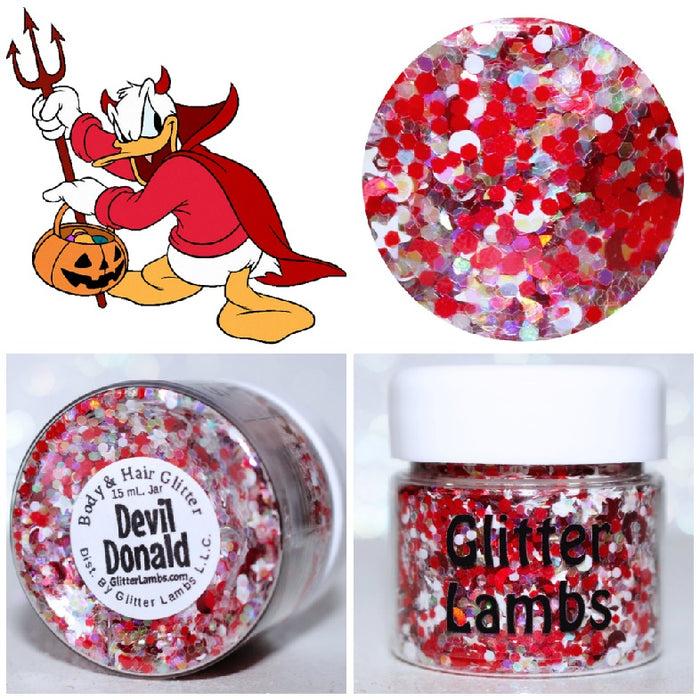 Devil Donald Glitter. Great for crafts, nails, resin, etc. 15 mL Jar. By GlitterLambs.com