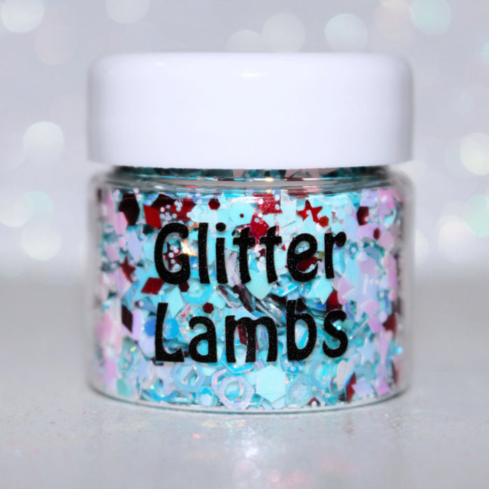 """Evil Alice"" Halloween Body Glitter by GlitterLambs.com - Alice In Wonderland Halloween Glitter Mix Blue Red White"