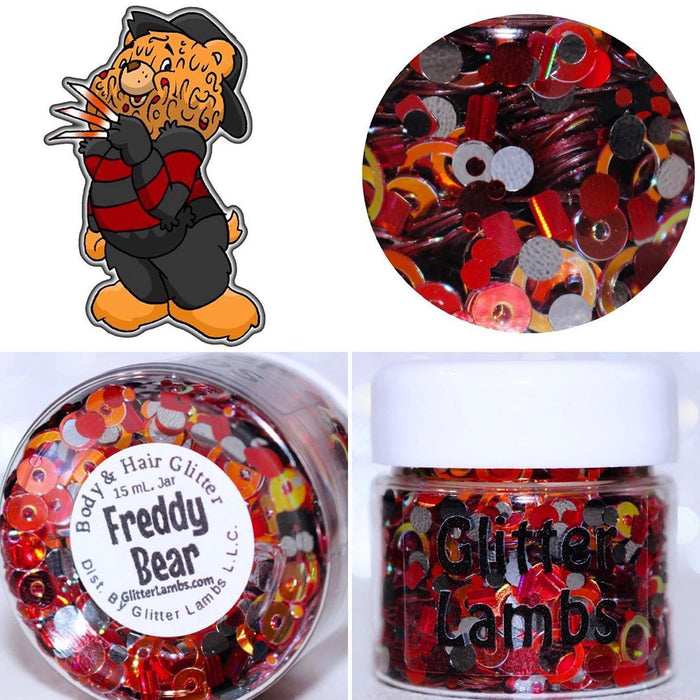 """Freddy Bear"" Halloween Body Glitter by GlitterLambs.com"