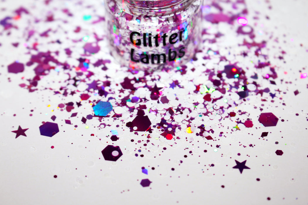 Frosted Sugar Plums Glitter. Jar is 15 mL. Great for crafts, nails, resin, body, hair, etc. by GlitterLambs.com