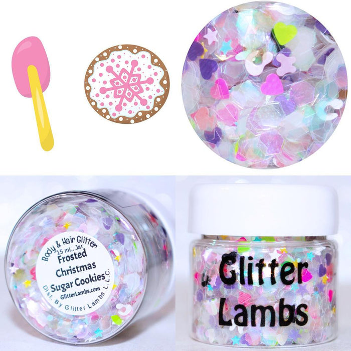 "Glitter Lambs ""Frosted Christmas Sugar Cookies"" Christmas Body & Hair Glitter Limited Edition Only A Few Made bu GlitterLambs.com #glitter #christmasglitter #christmas #bodyglitter #limitededition #glitterlambs"