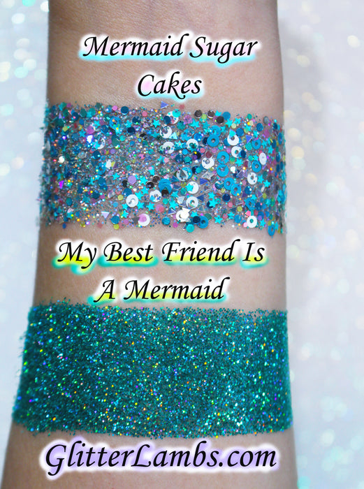 "Glitter Lambs ""My Best Friend Is A Mermaid"" GlitterLambs.com Makeup Body Glitter Aqua Holographic Face Club Festival Rave Cosplay Mermaid Makeup Glitter"