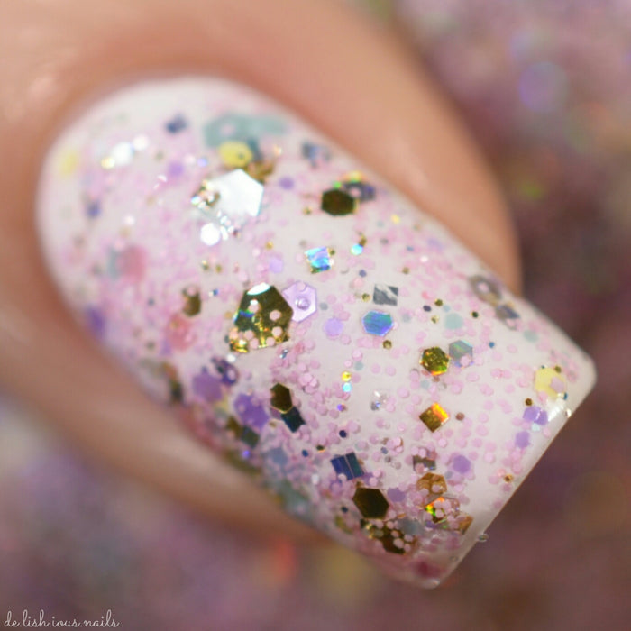 "Glitter Lambs ""Cotton Candy King"" glitter topper nail polish #nails #nailpolish #glitternails #nailart #naildesigns #glitterlambs #glitternailpolish"