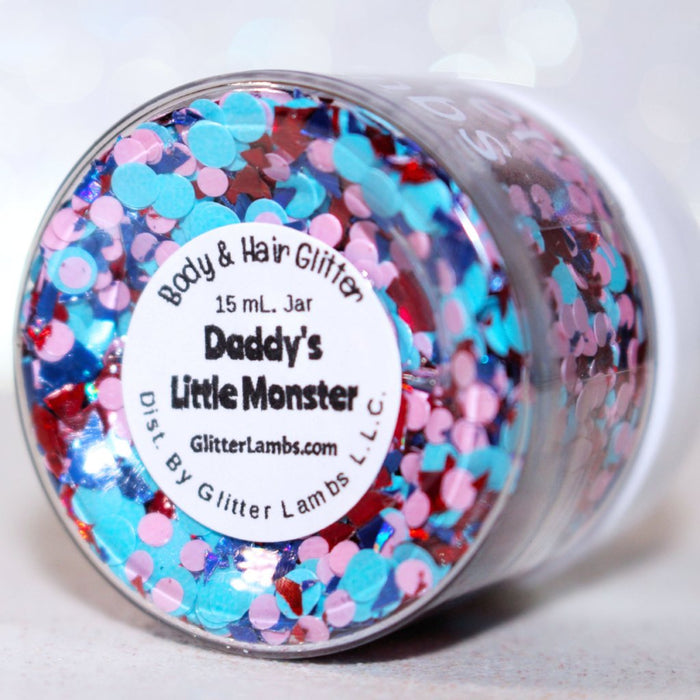 "Glitter Lambs ""Daddy's Little Monster"" Body Glitter by GlitterLambs.com #glitter #bodyglitter #daddyslittlemonster #makeup #glitterlambs"