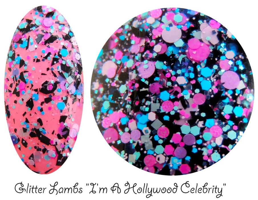 "Glitter Lambs ""I'm A Hollywood Celebrity"" glitter topper nail polish #nails #glitterlambs #nalipolish #polish #glitternails #glitternailpolish"