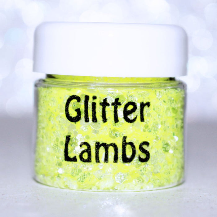 "Glitter Lambs ""My Unicorn Has A Lemonade Stand"" Yellow Body & Hair Glitter by GlitterLambs.com #yellowglitter #bodyglitter #festivalglitter #festival #rave #glitterlambs"