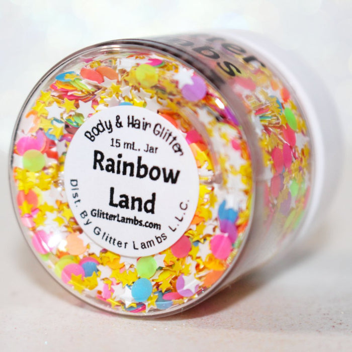 "Glitter Lambs ""Rainbow Land"" Body Glitter by GlitterLambs.com #glitter #bodyglitter #rainbowbrite"