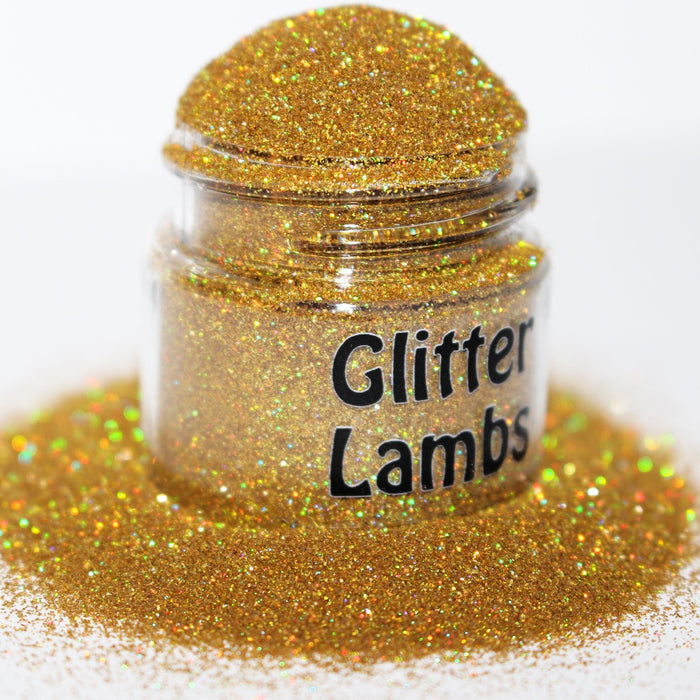 Gold Digger glitter. Size is .004. Great for crafts, nails, resin, etc. Jar is 15 mL. by GlitterLambs.com