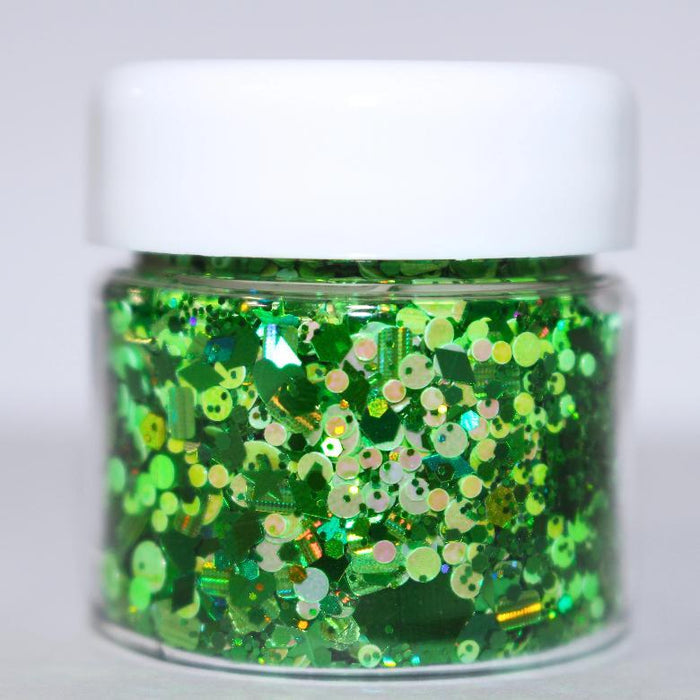 Grinch Glitter. Great for crafts, nails, resin, etc. Jar is 15 mL.  By GlitterLambs.com
