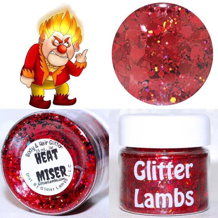 "Glitter Lambs ""Heat Miser"" Christmas Body & Hair Glitter by GlitterLambs.com 