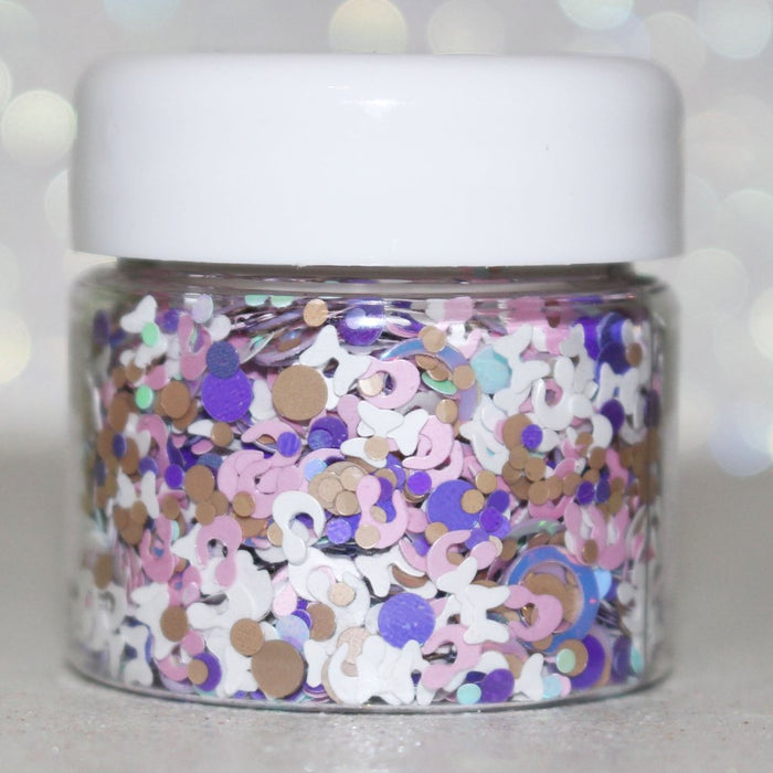 Hickery Dickory Dock glitter. Great for crafts, nails, resin, body, hair, tumbler cups, diy projects, acrylic pouring, etc. Jar is 15mL by GlitterLambs.com