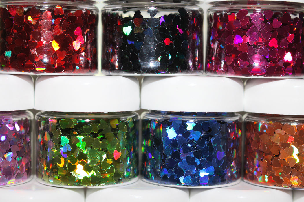"Glitter Lambs ""Holographic Heart Collection"" Face, Skin & Hair Glitter Pots GlitterLambs.com"