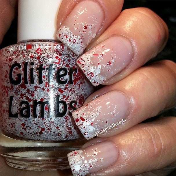 "Glitter Lambs ""Don't Touch My Candy Cane Milkshake"" Glitter Nail Polish by GlitterLambs.com #nails #christmasnails #glitternails #glitternailpolish #christmasnailpolish #nailpolish #glitterlambs"