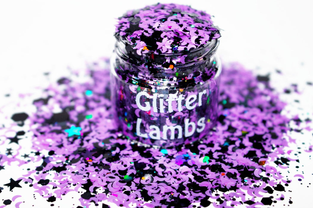 I Put A Spell On You Glitter by GlitterLambs.com. Hocus Pocus Halloween Glitter For arts, crafts, nails, resin, acrylic pouring, tumbler cups. Purple Moons and Black Holographic Glitter.