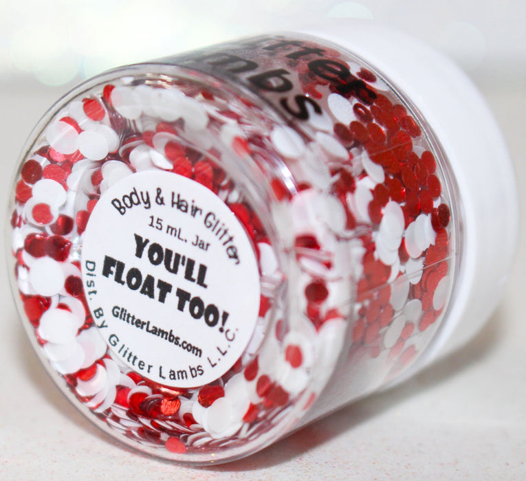 "IT Pennywise Clown ""You'll Float Too!"" Halloween Body Glitter by GlitterLambs.com #it #itglitter #halloweenglitter #halloween #glitter"