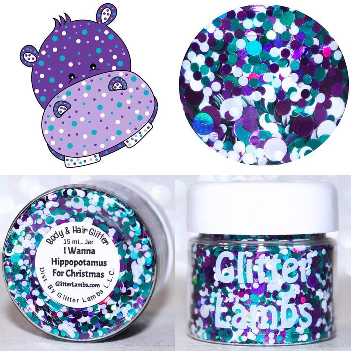 "Glitter Lambs ""I Wanna A Hippopotamus For Christmas"" Body & Hair Glitter by GlitterLambs.com #glitter #christmasglitter #christmas #glitterlambs"