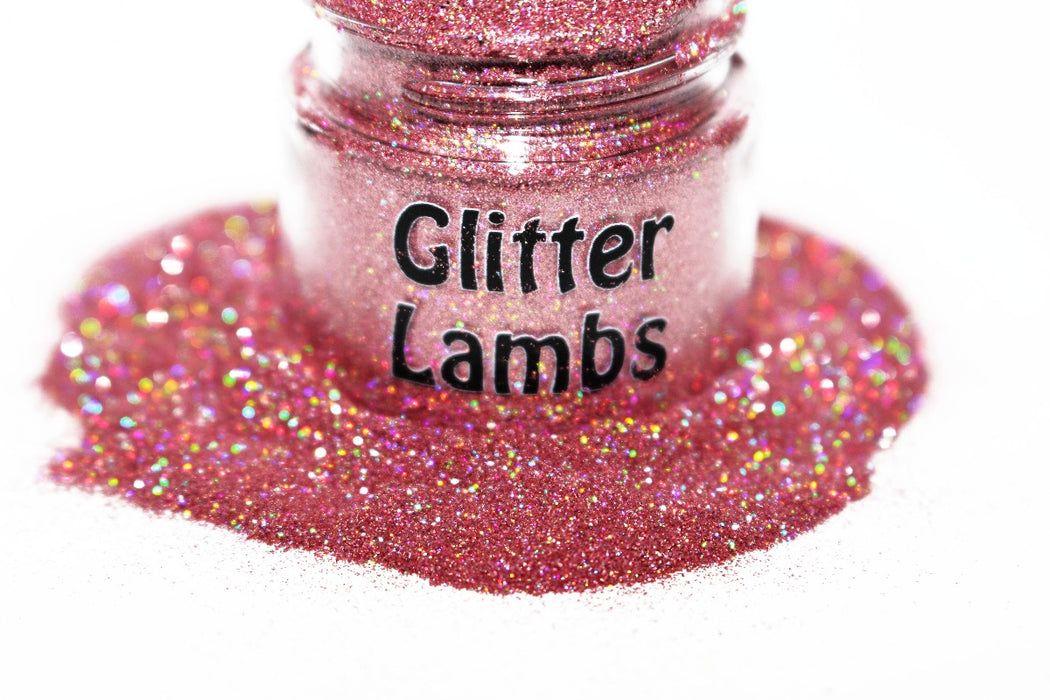 Ice Cream Truck Glitter. A pink holographic glitter that is a size .004. Great for crafts, nails, resin, acrylic pouring, tumbler cups, diy projects, body, etc by GlitterLambs.com