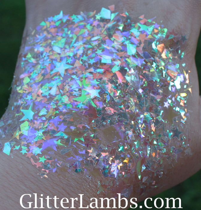 Ice Cream Castle Fairy House Hair Glitter Body Glitter GlitterLambs.com Iridescent Stars Hair Glitter