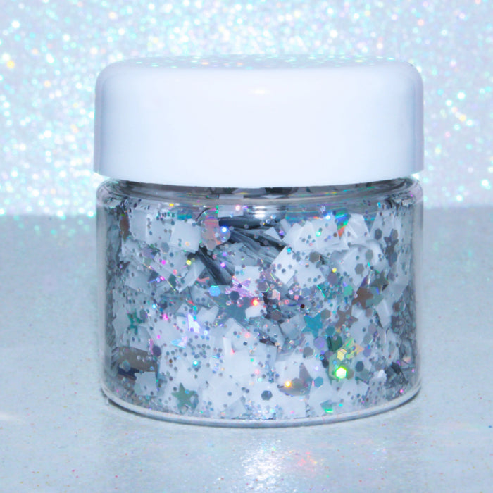 Ice Palace Glitter. Jar is 15 mL. This glitter mix works great for crafts, nails, resin, body, hair, etc by GlitterLambs.com
