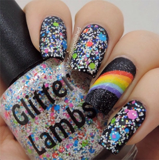 Taste The Rainbow Glitter Lambs Glitter Topper Nail Polish by GlitterLambs.com #nails