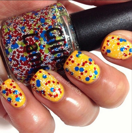 "Glitter Lambs ""Beach Ball"" Glitter Topper Nail Polish worn by @jessface90x"