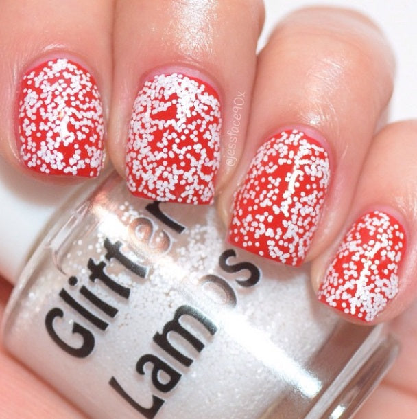 "Glitter Lambs ""Snowball"" Christmas Glitter Topper Nail Polish by GlitterLambs.com #nailpolish #nails #christnmasnails #glitterlambs #glitternailpolish"